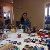 Kelly Cisneros, with some of the school supplies donated for this year's project
